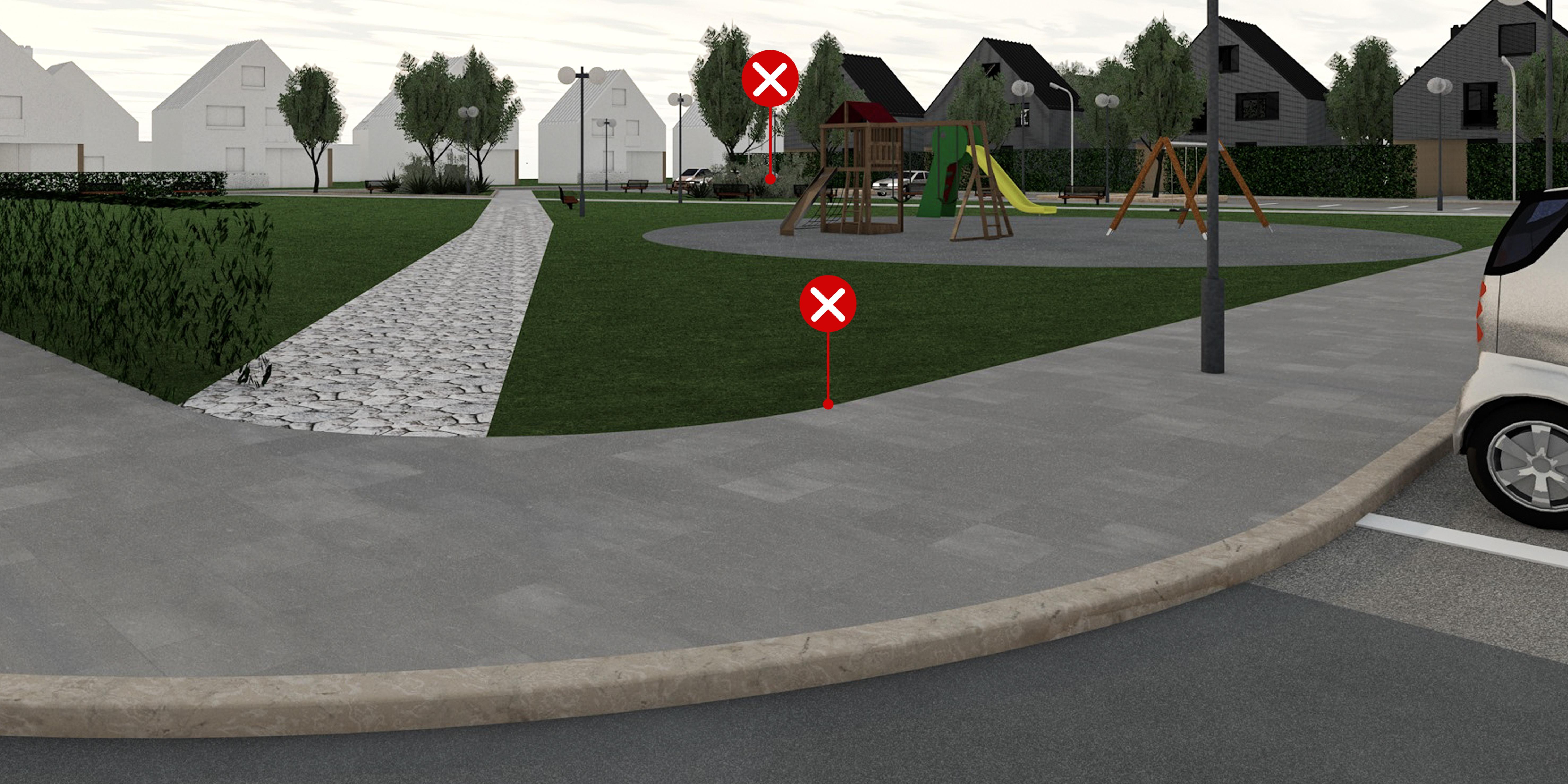 17 – Parkok lehatárolása – helytelen