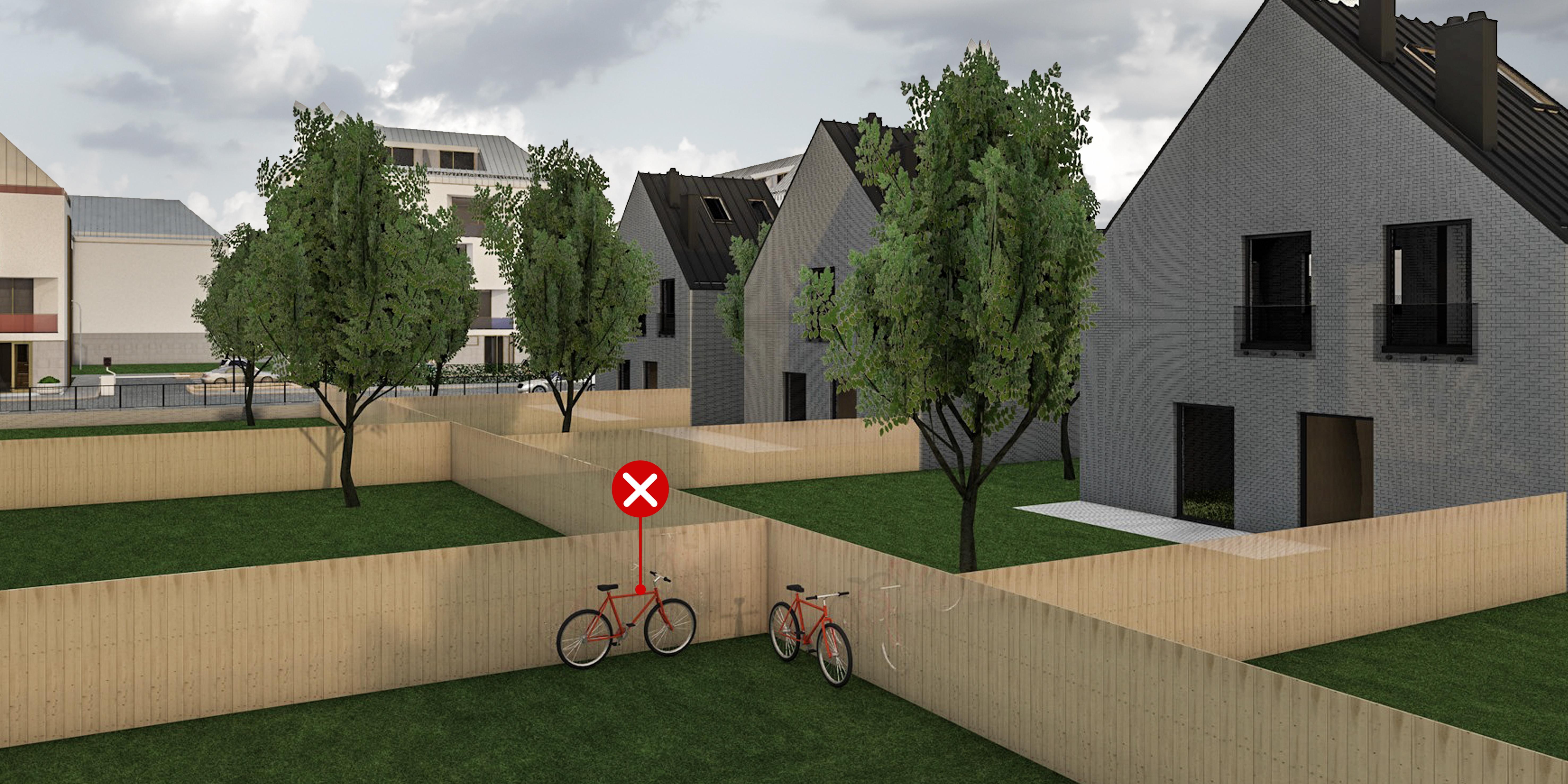 25 – Kerékpártárolás kertben – helytelen